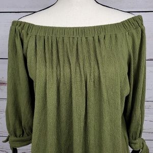 Abercrombie & Fitch Tops - A&F ruched off shoulder tie sleeve textured blouse